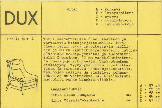 Nojatuoli Dux Profil Set 4.