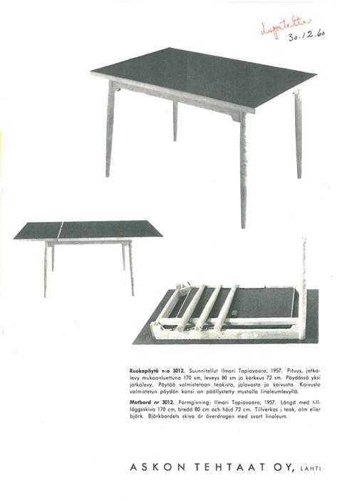 Pöytä nro 3012.